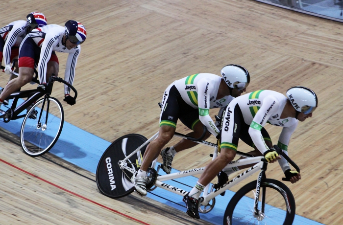 Australian Tandem Kieran Modra And David Edwards Pilot In The Sprint Race With British